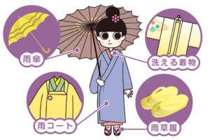 雨の日も着物でおでかけを楽しむ_雨の日の装い_必需品